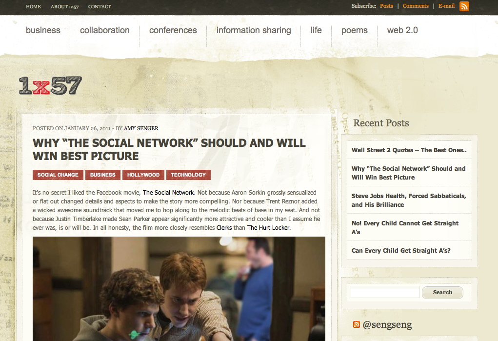 screenshot of v1.0 of 1x57 - why social network will win best picture