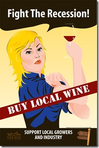 fight the recession buy local wine blonde woman
