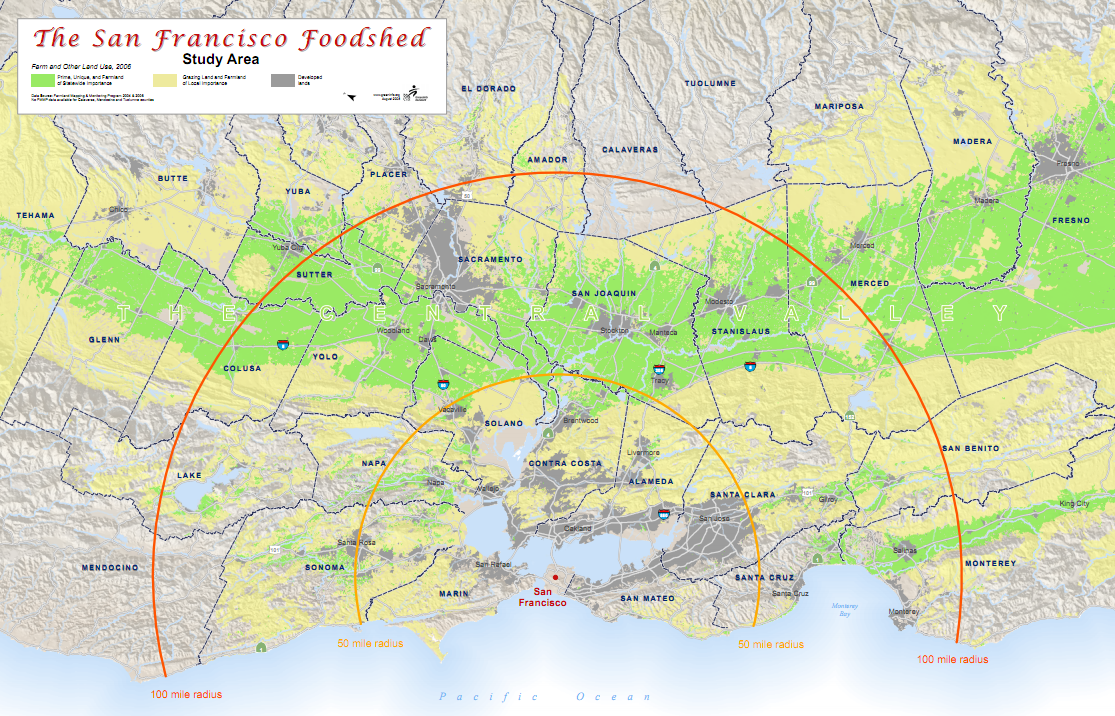 san francisco california foodshed map 100 mile local locavore