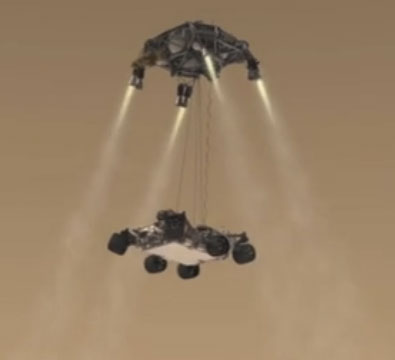 MEDLI MSL Curiosity thrusters Mars planetary entry atmosphere sky crane NASA NASAs latest Mars probe, Curiosity, a nuclear robot with science fiction abilities