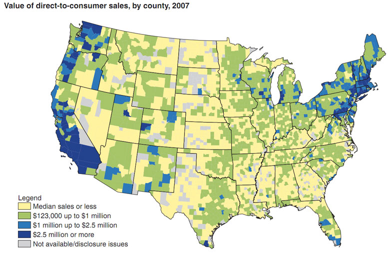 West Coast And Atlantic Northeast Dominate US In Farmers Markets - Northern east coast us map