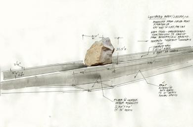 levitated mass by michael heizer lacma los angeles sculpture sketch diagram drawing Levitated Mass   walk under a 340 ton granite boulder   new LACMA sculpture by Michael Heizer