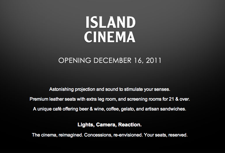 Fashion Island Cinema opening december 16 Premium leather seats caf beer wine coffee gelato artisan sandwiches Grand Opening   Island Cinema at Fashion Island in Newport Beach