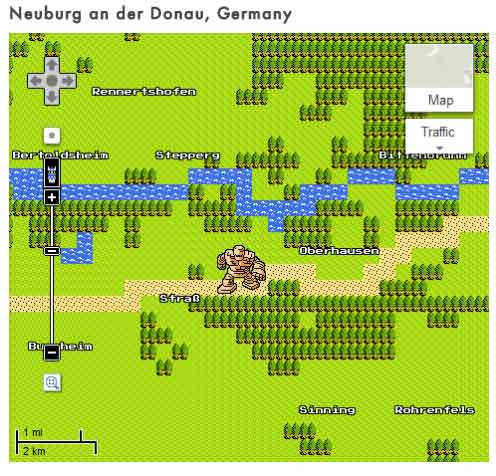google 8 bit maps creatures april fools day 2012 tumblr blog neuburg donau germany rock man forest river road path Tumblr Blog finds all the Monsters in Google Maps 8 bit