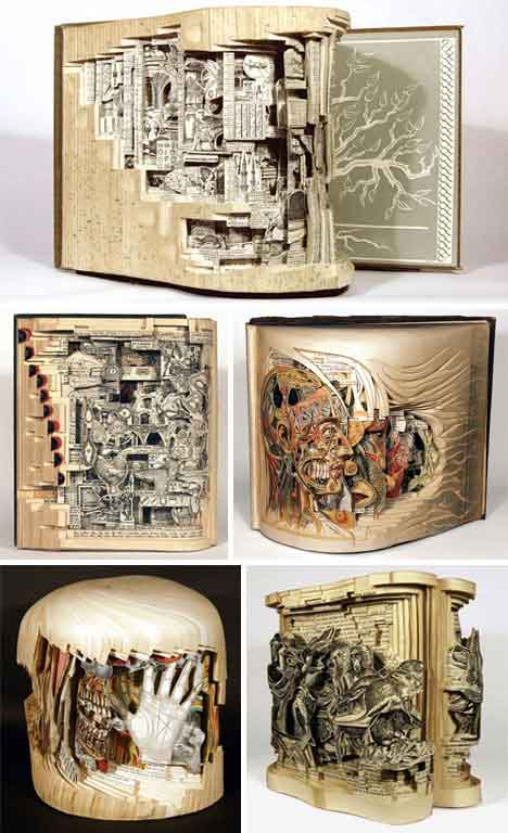 repurposing books recycle art carving sculpture Turning old books into art and sculptures
