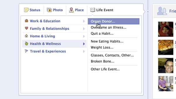 facebook life events status updates organ donor health welness priscilla chan donate life california mark zuckerberg Facebook for Good: new update creates thousands of organ donors