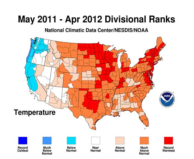 may 2011 april 2012 divisional ranks temperature record hottest coldest united states graph map NOAA climate global warming U.S. global warming affects Texas, Midwest, and Northeast   the most