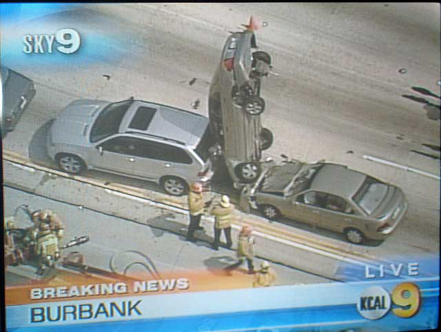 burbank sky 9 news channel station car accident road freeway upright on edge standing up Our brains can brake a car faster than our feet