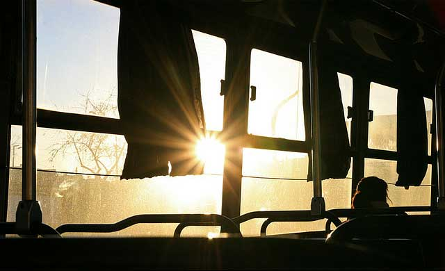 bus travel window vacation greyhound america driving seat sunrise sunset California begins offering $1 trips on Greyhound from LA to SF