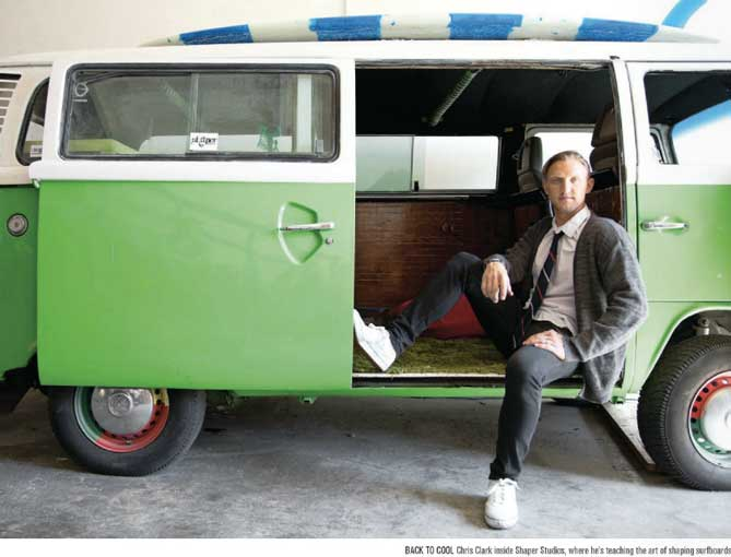 shaper studios chris clark founder riviera san diego volkswagon bus green surfboard businessman Shaper Studios   create your own surfboard at the first of its kind DIY studio
