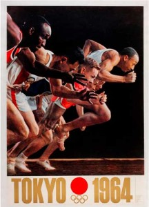 'The Start of the Sprinters' Dash'. Poster for Tokyo Olympic Games 1964. Yusaku Kamekura art director Osamu Hayasaki photographer 216x300 'The Start of the Sprinters' Dash'. Poster for Tokyo Olympic Games, 1964. Yusaku Kamekura art director, Osamu Hayasaki photographer