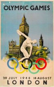 Official poster for London Olympic Games 1948 Walter Herz 185x300 Official poster for London Olympic Games, 1948, Walter Herz