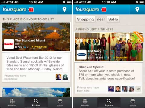 foursquare promoted updates ads the standard miami old navy location place Foursquare launches promoted updates   now all social networks have ads in your news feed