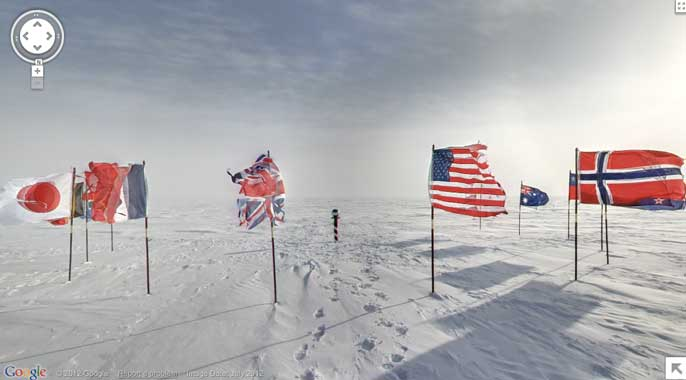 google maps antarctica south pole cermonial flags snow ice street view Google adds educational Street Views   Antarctica with exploration outposts, penguins, and more