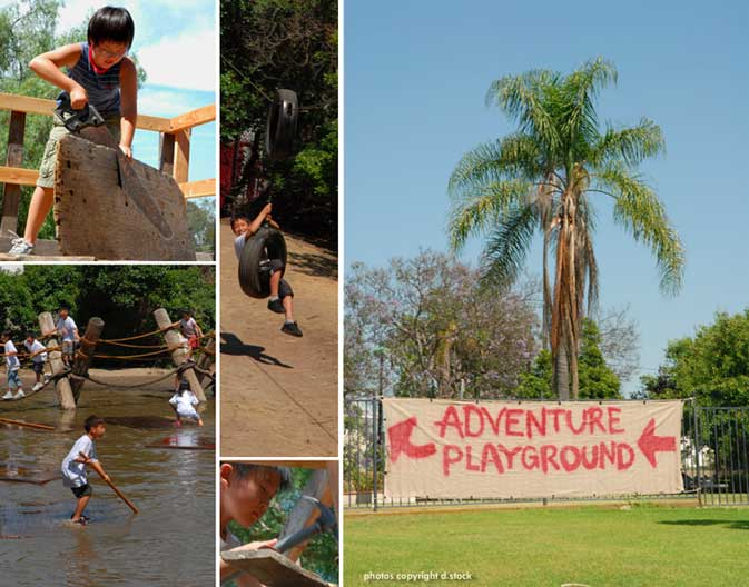huntington beach adventure playground central park saw mud slide raft hammer build swing library Adventure playground is open!   mud slide, rafting, fort building, rope bridge