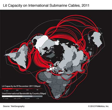 internet underwater ocean cables capacity arctic circle map bandwidth sea telegeography submarine 2011 international A map of the worlds undersea cables   as $5 billion worth more comes online