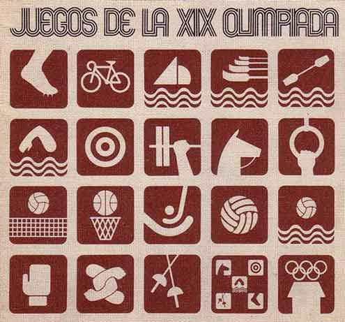 juegos de la xix olimpiada Pictograms for the 1968 Mexico Olympics designed by Lance Wyman History of Olympic Pictograms overcoming the language barrier