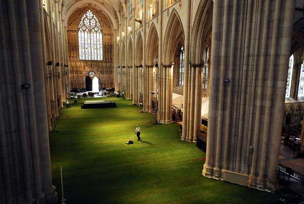 live grass springs from the floor of the UK York Minster on June 6 Grown on recycled textiles no dirt required the turf was fit for the feet of Queen Elizabeth II and 900 dinner guests at a Diamond Jubilee fundraiser for the cathedral upkeep The best pictures of June from National Geographic