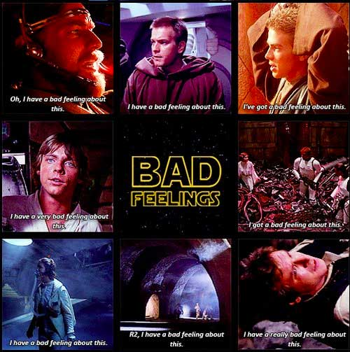 star wars bad feelings i have a very bad feeling about this ben kenobi anakin skywalker luke han solo leia r2 threepio Retro Star Wars Art
