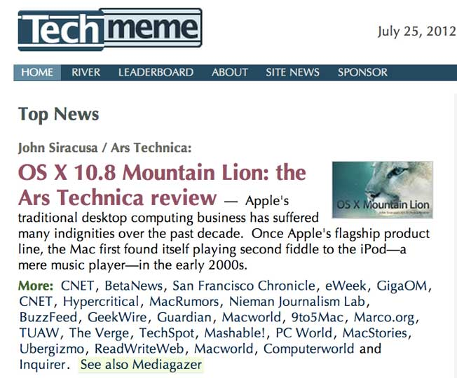 techmeme screenshot news aggregation osx lion mountain apple ars technica Newsmastering   or why its an incredible time to be a news geek