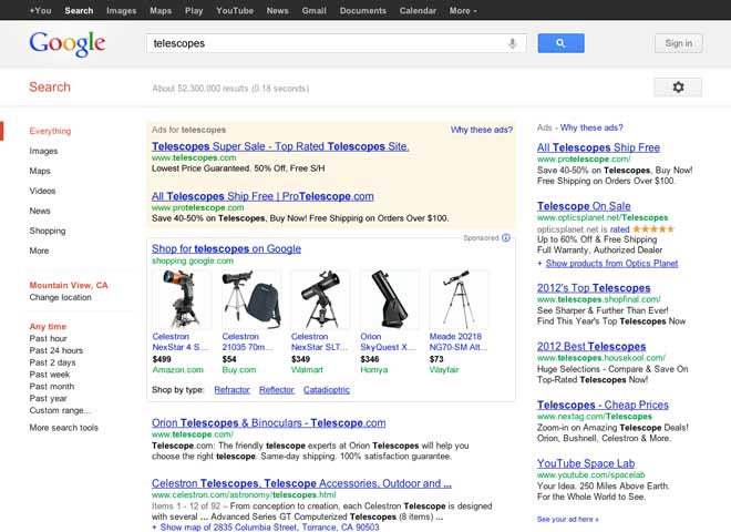 telescopes google product search screenshot shopping commerce Google ads Amazon style products to search results   in a big revenue grab