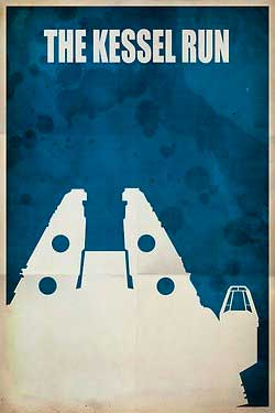 the kessel run star wars retro poster Retro Star Wars Art