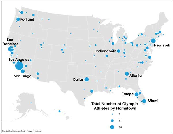 2012 london summer olympic games team usa athletes hometown birthplace Maps of where Olympic athletes are born and where they move to