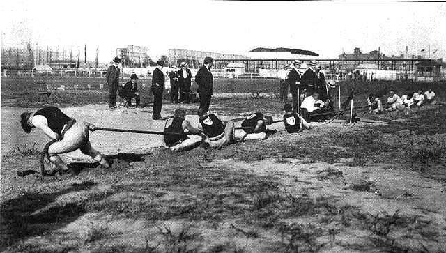 From Charles Lucas The Olympic Games 1904. St. Louis MO Woodward and Tiernan 1905 Tug of War, once a part of Ancient Olympics, was also once a part of the modern Olympics