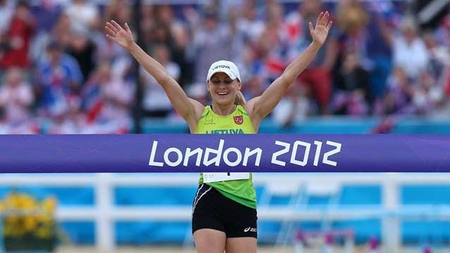 Laura Asadauskaite crosses the line first to win the gold medal in the womens Modern Pentathlon competition on Day 16 at London 2012 London 2012: women earn more medals, compete in more events, and represent more countries