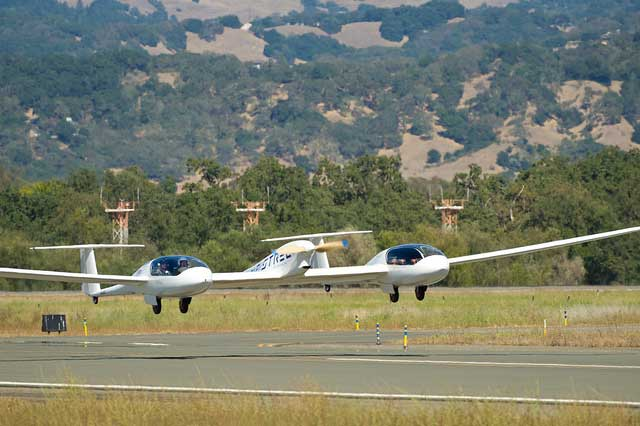 Pipistrel USA Taurus G4 aircraft takes off 2011 Green Flight Challenge at Charles M. Schulz Sonoma County Airport in Santa Rosa Calif. on Monday Sept. 26 2011. NASA and the Comparative Aircraft Flight Efficiency CAFE Foundation NASA jumpstarts the electric airplane industry with ultra efficient flights   400 mpg