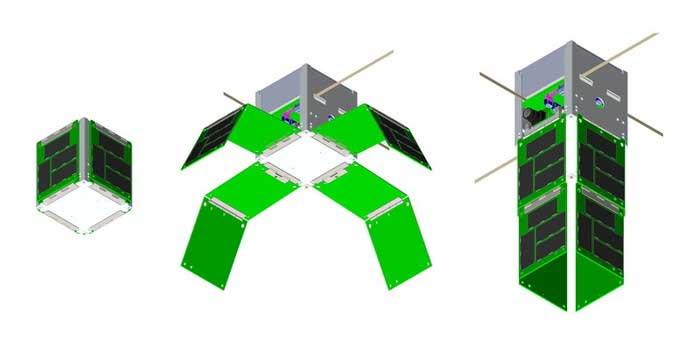 Three views of SkyCube packed for launch deploying solar panels and operational in orbit Crowdsource the launch of a nano satellite into space   Kickstarter