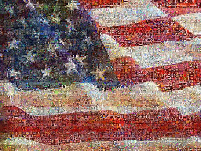 United State of Art an image of the US Flag I created blending superimposed images of flags including actual photographs paintings by great artists and pop icons photomosaic created using 3000 Digital artworks The United States continues to go green   CO2 emissions near 1990 levels
