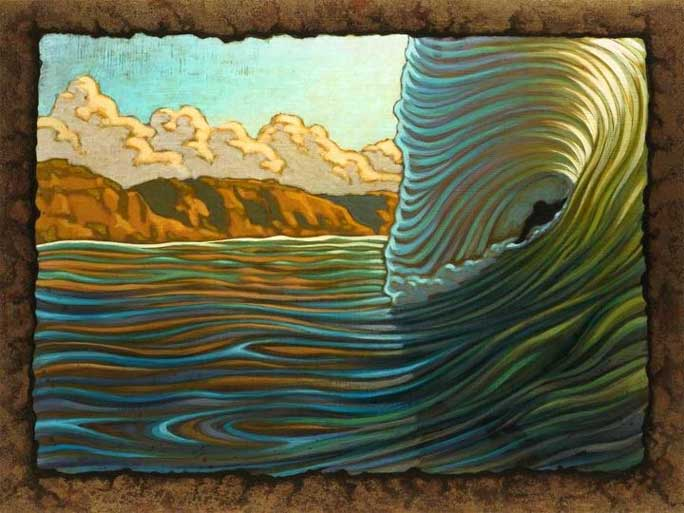 beardart matt beard bodysurfing wave multi color barrel cliffs BeardArt
