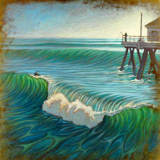 beardart matt beard huntington pier surfer fishermen waves blue turqouise BeardArt