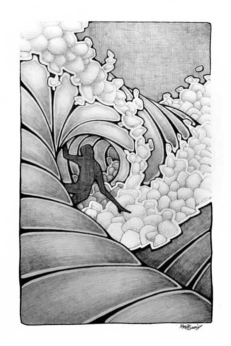 beardart matt beard ink drawing surfer wave black white froth BeardArt
