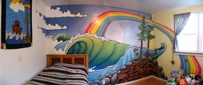 beardart matt beard surfing waves ocean rainbow childrens bedroom BeardArt