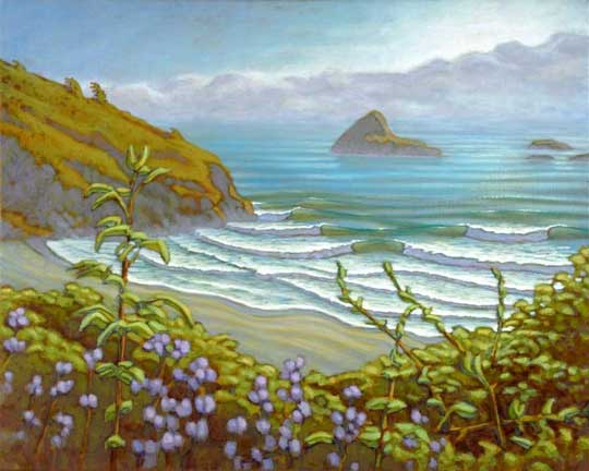 beardart matt beard waves coast beach ocean purple flowers rocks cliffs BeardArt