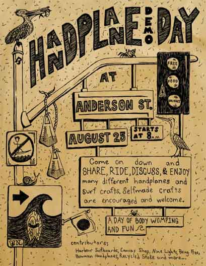 handplane demo day anderson street august 25 free share ride discuss enjoy surf craft bodysurf bodyboard diy self made harbour surfboards Surf event: Handplane Demo Day   try out new surf toys for free   (this Saturday)