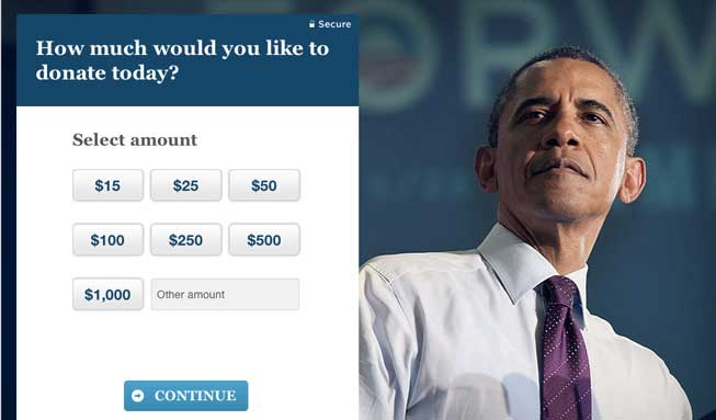 how much would you like to donate today barack obama campaign president Myth debunked   Obama didnt win from small donors