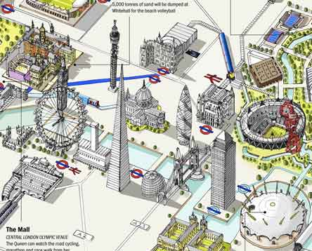 London Landmarks Map.A Brochure From The Olympics The Map From The London Tube 1x57