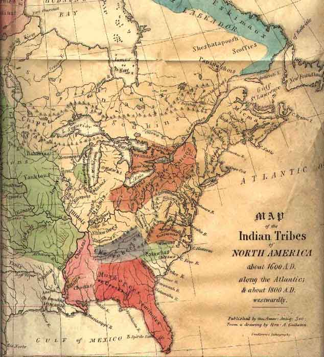 map of indian tribes year 1600 east coast united states native american historical Great maps of the Native American Tribes of North America 