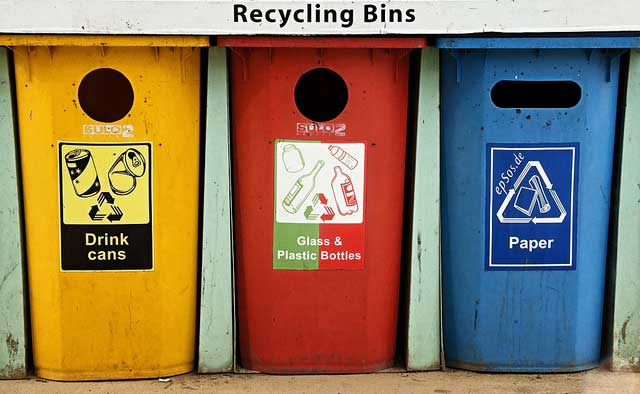 recycling bins Colorful Containers for Trash drink cans glass plastic bottles paper California moves one step closer to Zero Waste   75% reduction by 2020