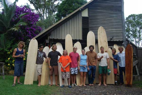 tom wegener and his wooden board crew The rise of wooden surfboards   alaias