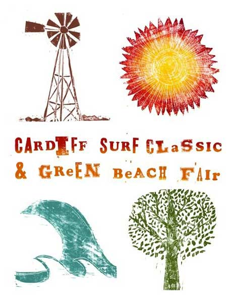 artist julie goldstein event poster cardiff surf classic green beach fair Julie Goldsteins beautiful woodcut prints
