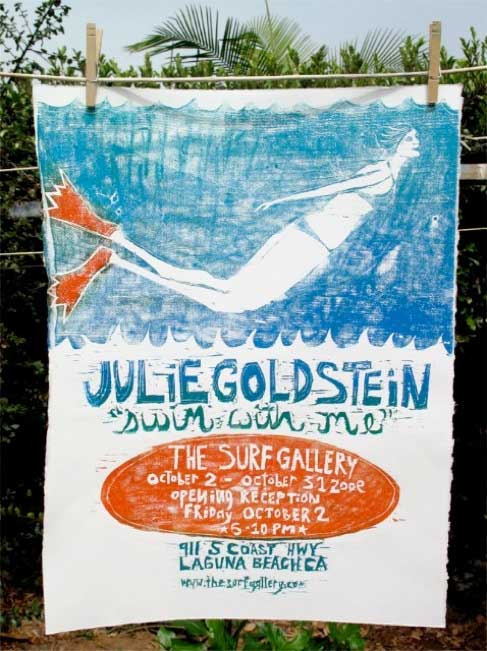 artist julie goldstein swi iwth me event poster woman underwater the surf gallery Julie Goldsteins beautiful woodcut prints