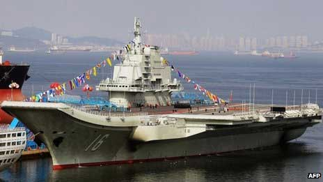 china first aircraft carrier launching ceremony laoning diaoyu naval navy China launches its first aircraft carrier