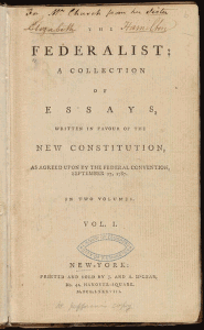 federalist papers collection of essays written in favor of the new constitution first printing title page john jay james madison alexander hamilton 185x300 federalist papers collection of essays written in favor of the new constitution first printing title page john jay james madison alexander hamilton