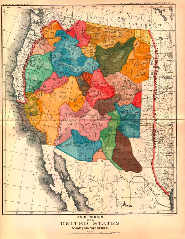 historical united states map west american arid regions john wesley powell Alternative map of the American West   as sustainable water regions