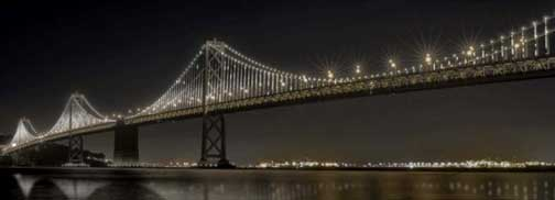 san francisco bay bridge art installation white led lights A stunning light installation for 75th anniversary of the Bay Bridge in San Francisco