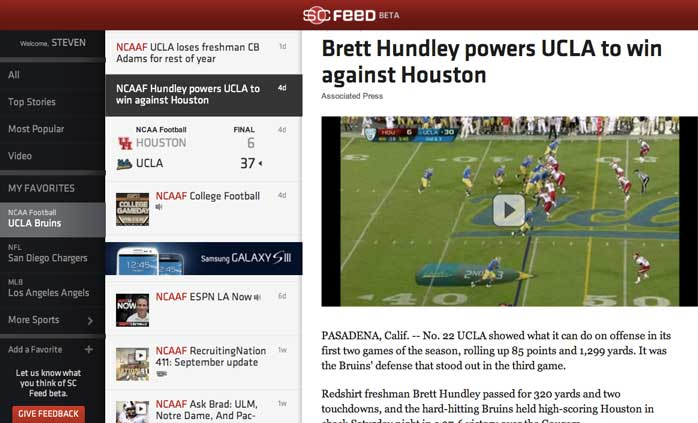 sportscenter feed beta web app personalized sports rss twitter ESPN launches first hackathon app   SportsCenter Feed Beta